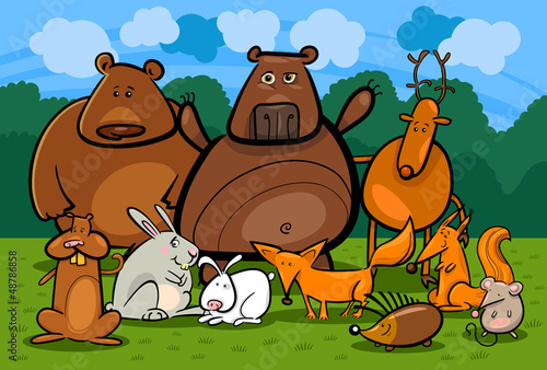 Photo sur Aluminium Forets enfants wild forest animals group cartoon illustration