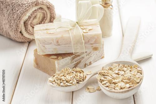 Fotografie, Obraz  Oatmeal soap