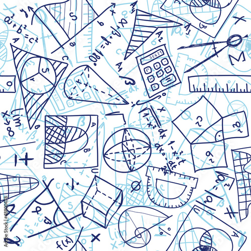 Mathematics seamless pattern Wallpaper Mural