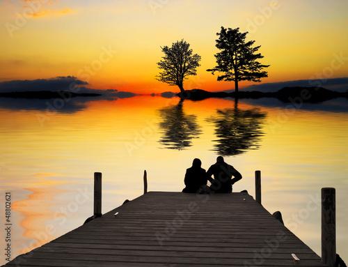 Tuinposter Pier amor en el lago