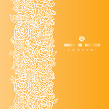 Vector Golden Lace Roses Vertical Seamless Pattern Background