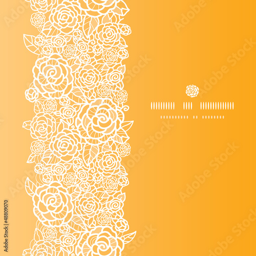 Valokuva  Vector golden lace roses vertical seamless pattern background