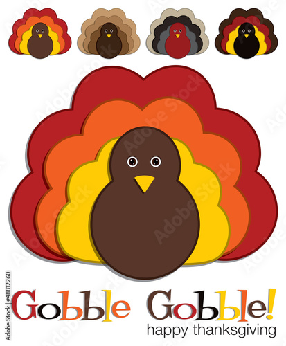 Fényképezés  Turkey stickers in vector format.