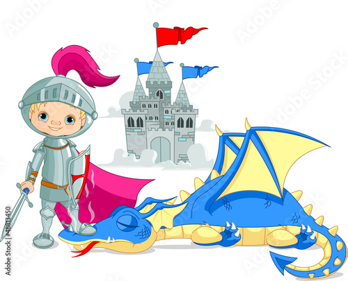 Ingelijste posters Ridders Dragon and Knight