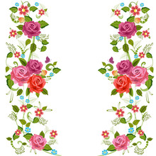 Foliate Border With Roses Blossom