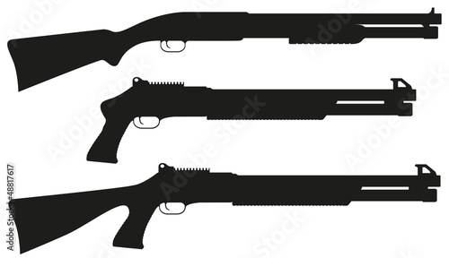 Fényképezés shotgun black silhouette vector illustration