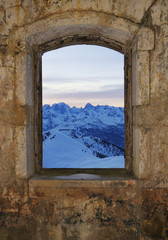 Fototapeta Window - fort Gondran , Montgenevre