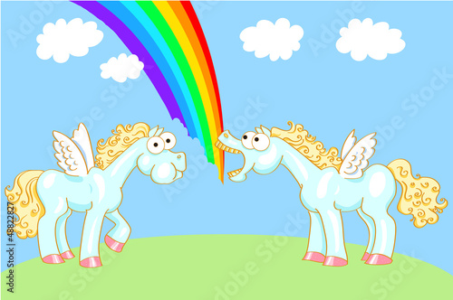 Garden Poster Pony Two cartoon horse with wings and a rainbow
