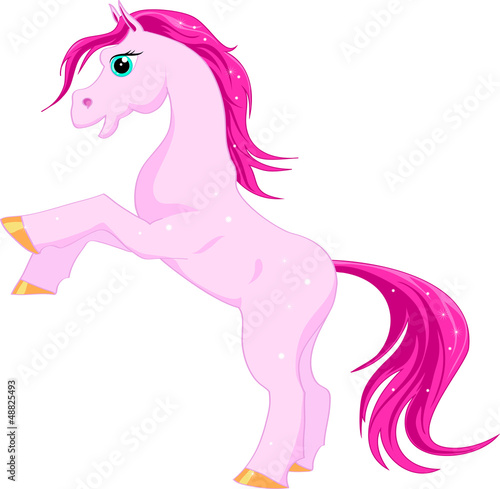 Deurstickers Pony Pink magic horse