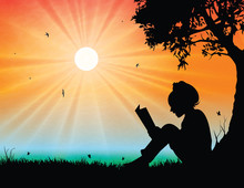 Young Girl Reading In Sunset B...