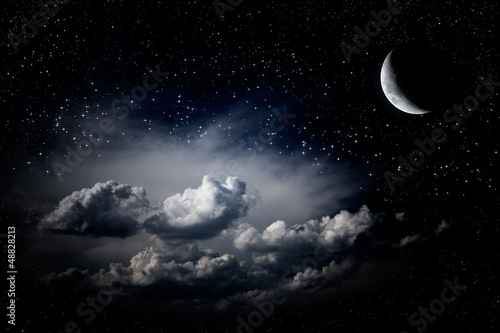 Wall Murals Night Night sky clouds stars