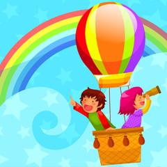 djeca koja lete u balonu