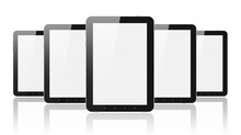 Many Digital Tablet Pc On Whit...
