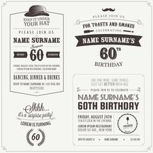 Set Of Adult Birthday Invitation Vintage Typographic Design