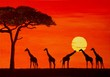 canvas print picture - Sonnenuntergang in Afrika