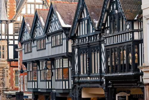 Obraz na plátne Chester, England, black and white building