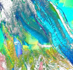 Fototapeta Wieloczęściowe abstract painting in light turquoise tones, illustration, backgr