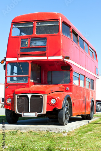 Foto op Canvas Londen rode bus Old Red London Double Decker Bus