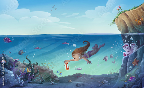 Naklejka fondo del mar