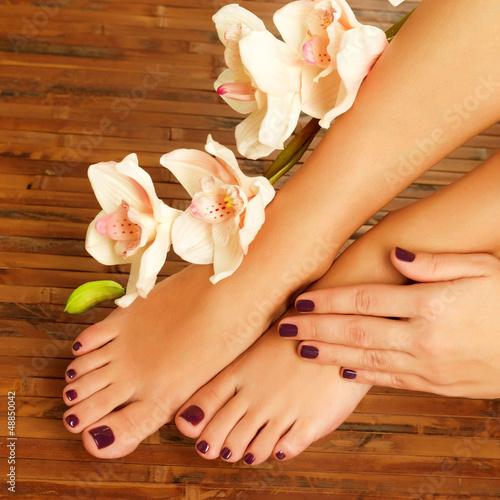 Plissee mit Motiv - female feet at spa salon on pedicure procedure