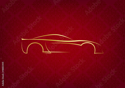 Fotografie, Obraz  Abstract calligraphic car logo on red background
