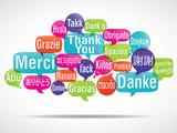nuage de mots bulles : merci traduction