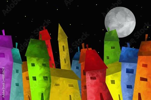 Montage in der Fensternische Klassische Abstraktion città colorata