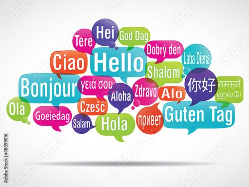 nuage de mots bulles : bonjour traduction Wallpaper Mural