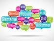 Leinwandbild Motiv nuage de mots bulles : bienvenue traduction