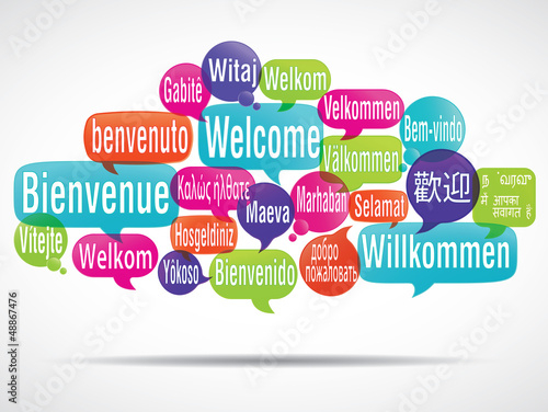 Fotografie, Obraz  nuage de mots bulles : bienvenue traduction