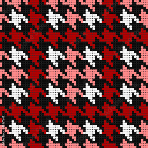 Door stickers Pixel houndstooth plaid