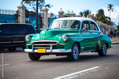 Canvas Prints Cars from Cuba Karibik Kuba Havanna Oldtimer auf der Strasse