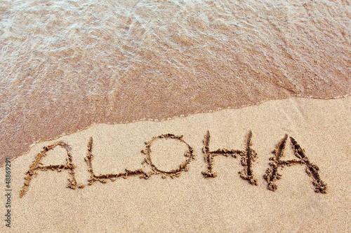 Aloha written on a Hawaiian beach Wallpaper Mural