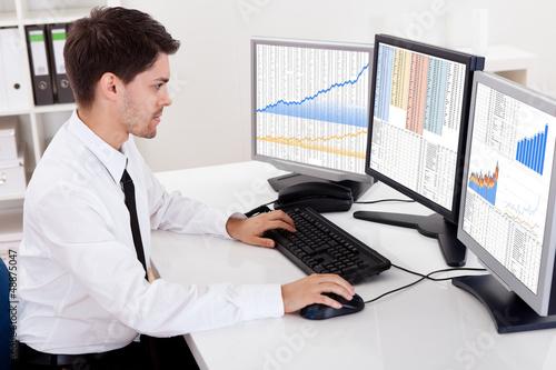 Fotografie, Obraz  Stock broker trading in a bull market