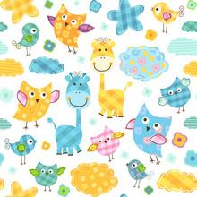 Cute Birds & Giraffes Seamless...