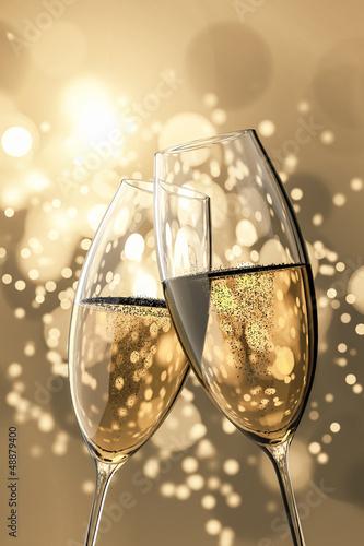 Fotografie, Obraz  2 Champagne glasses