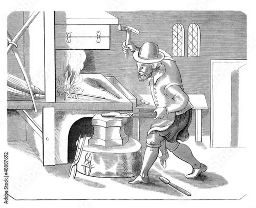 Fotografie, Obraz  Blacksmith - Forgeron - Schmied - 17th century