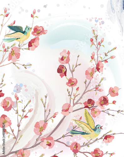 karta-wiosenna-ze-spiewajacymi-ptakami-na-galeziach-kwitnacego-drzewa