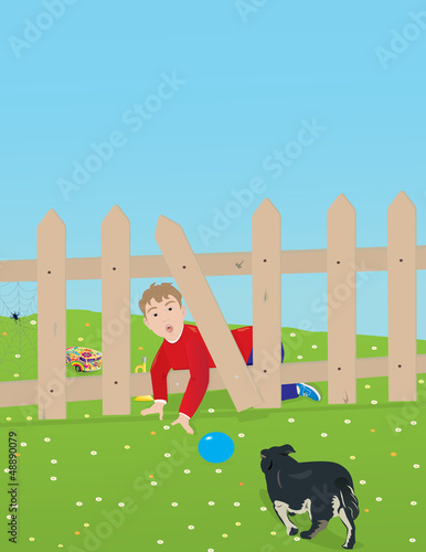 Foto auf Leinwand Hunde Boy and dog playing in the backyard