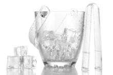 Glass Ice Bucket Isolated On White