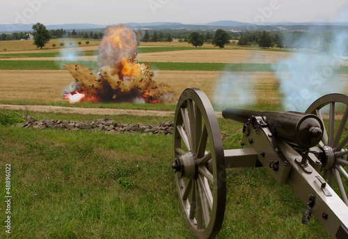 Fotografie, Tablou  Civil War Cannon with Explosion
