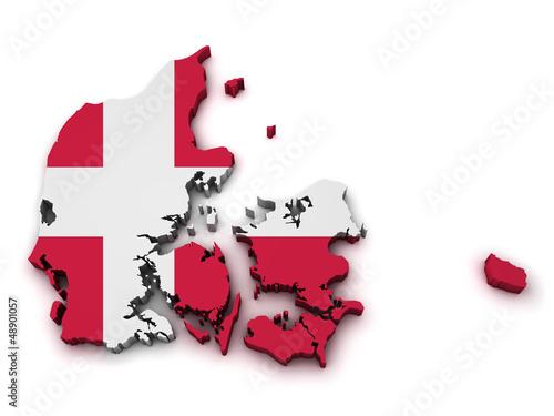 Photo  Denmark Flag Map Shape