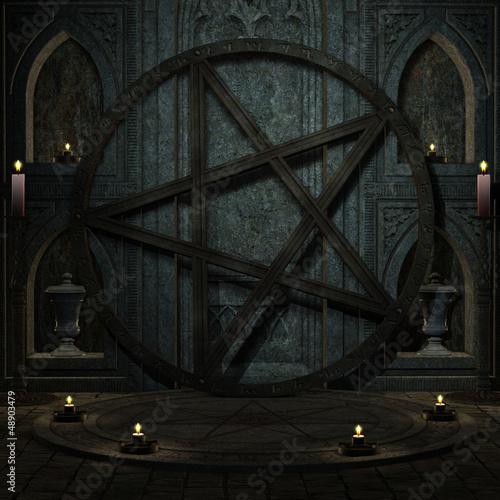 Plissee mit Motiv - Ritualplatz mit Pentagramm