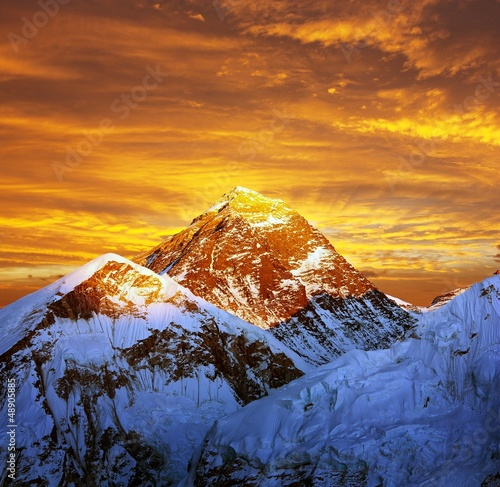 Wall Murals Nepal Evening colored view of Everest from Kala Patthar