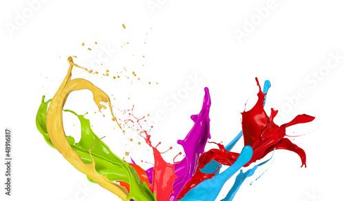 Fototapeta  Colored paint splashes isolated on white background obraz