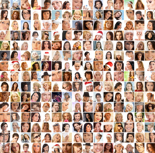 Fotografie, Obraz  A large collage of many different happy female portraits
