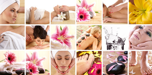 FototapetaA collage of image with young women on spa procedures