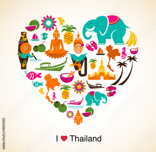 Fototapety, obrazy: Thailand love - heart with thai icons and symbols