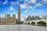 Fototapeta Big Ben - London. Beautiful view of Westminster Bridge and Houses of Parli