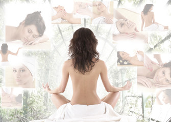 FototapetaA collage of young brunette women meditating in a towel